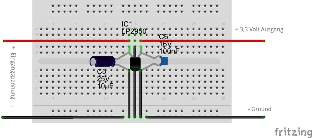 Spannungsregler auf 3.3V Steckplatine