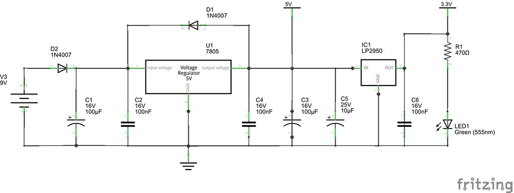 Spannungsregler auf 5V und 3.3V_Schaltplan