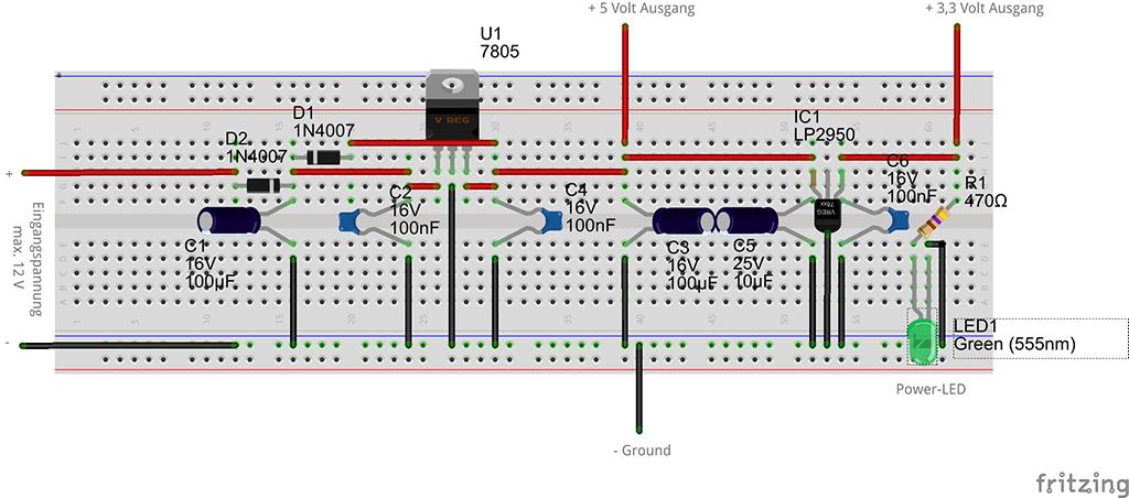 Spannungsregler auf 5V und 3.3V Steckplatine