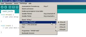 Den entsprechenden ATtiny-Prozessor auswählen